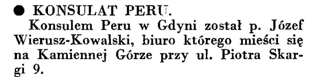Konsulat Peru // Wiadomości Poru Gdyńskiego. - 1935, nr 4, s. 16