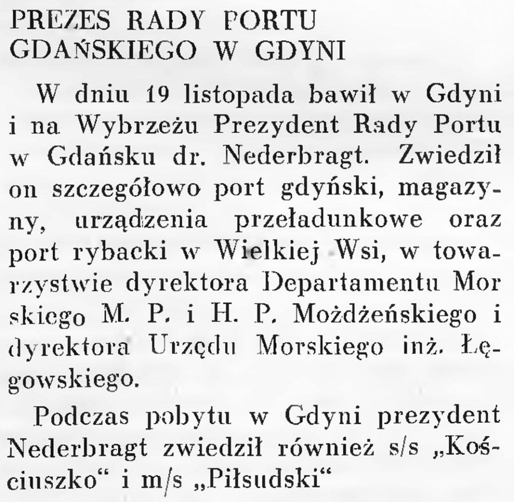 Prezes Rady Portu Gdańskiego w Gdyni // Wiadomości Portu Gdyńskiego. - 1937, nr 12, s. 19