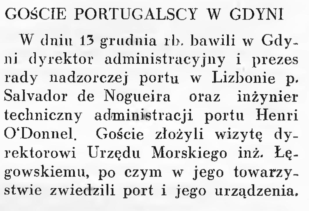 Goście portugalscy w Gdyni // Wiadomości Portu Gdyńskiego. - 1937, nr 12, s. 19