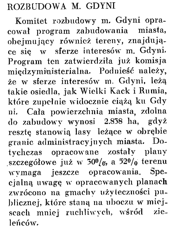 Rozbudowa m. Gdyni // Wiadomości Portu Gdyńskiego. - 1937, nr 12, s. 20