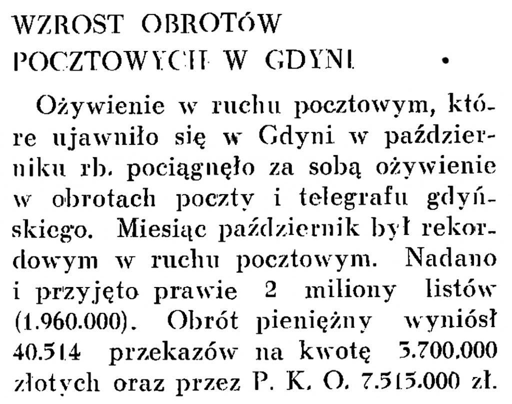 Wzrost obrotów pocztowych w Gdyni // Wiadomości Portu Gdyńskiego. - 1937, nr 12, s. 20