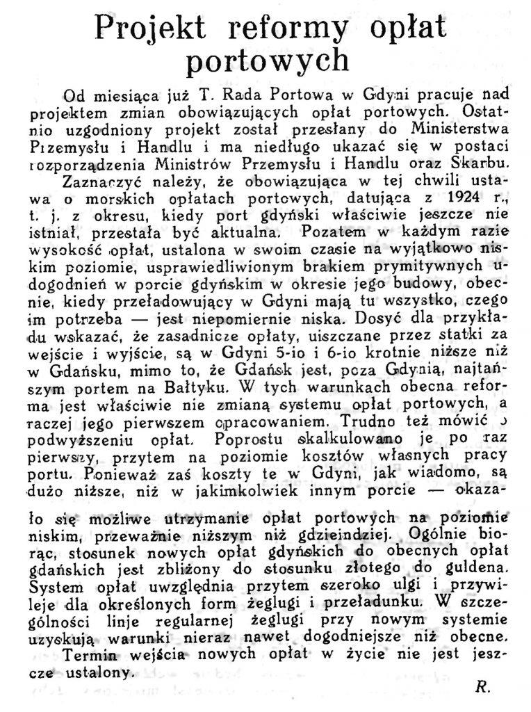 Projekt reformy opłat portowych // Wiadomości Portu Gdyńskiego. - 12931, zesz. 9, s. 20