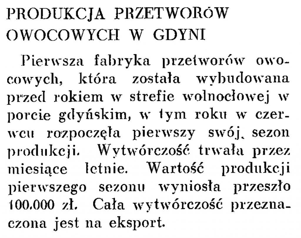 Produkcja przetworów owocowych w Gdyni // Wiadomości Portu Gdyńskiego. -1937, nr 12, s. 20