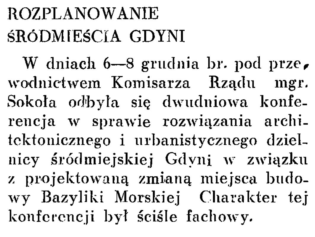 Rozplanowanie śródmieścia Gdyni // Wiadomości Portu Gdyńskiego.- 1937, nr 12, s. 20