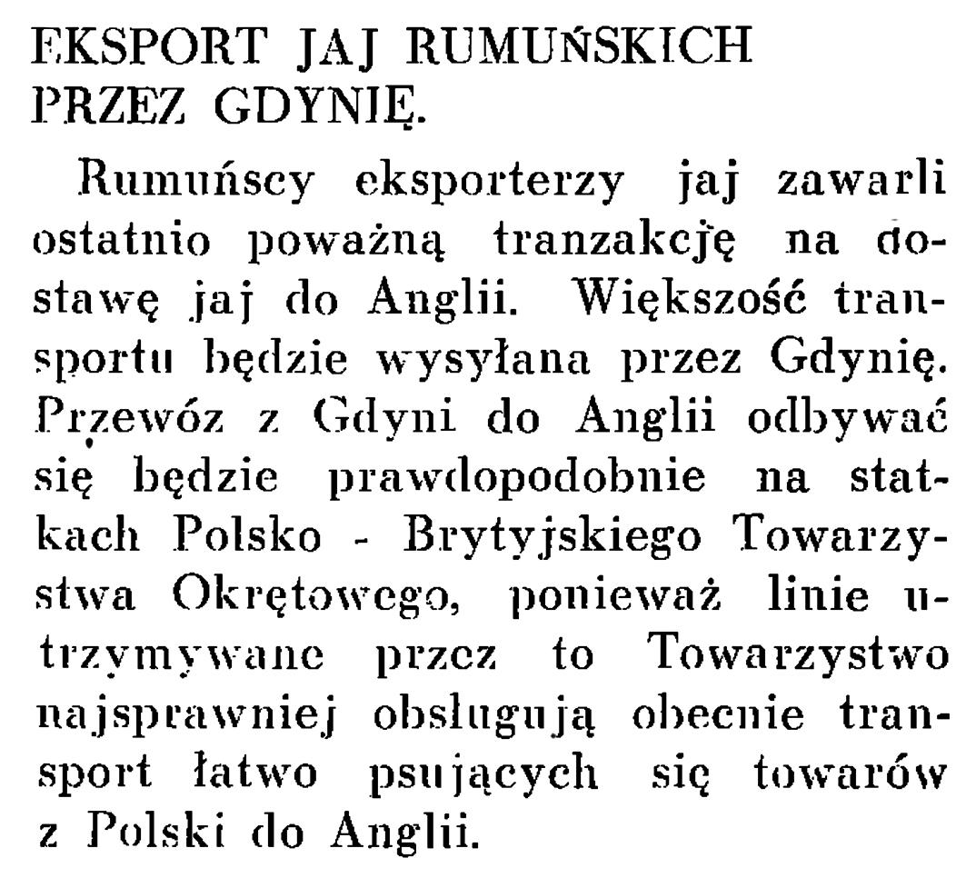 Eksport jaj rumuńskich przez Gdynię // Wiadomości Portu Gdyńskiego. - 1937, nr 12, s. 20