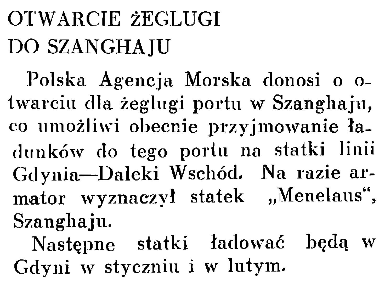 Otwarcie żeglugi dla Szanghaju // Wiadomości Gdyńskie. - 1937, nr 12, s. 20