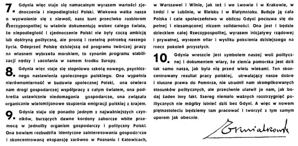 Dziesięć historycznych prawd polski // Wiadomości Portu Gdyńskiego. - 1935, nr 2, s. 1-2. - Portr.