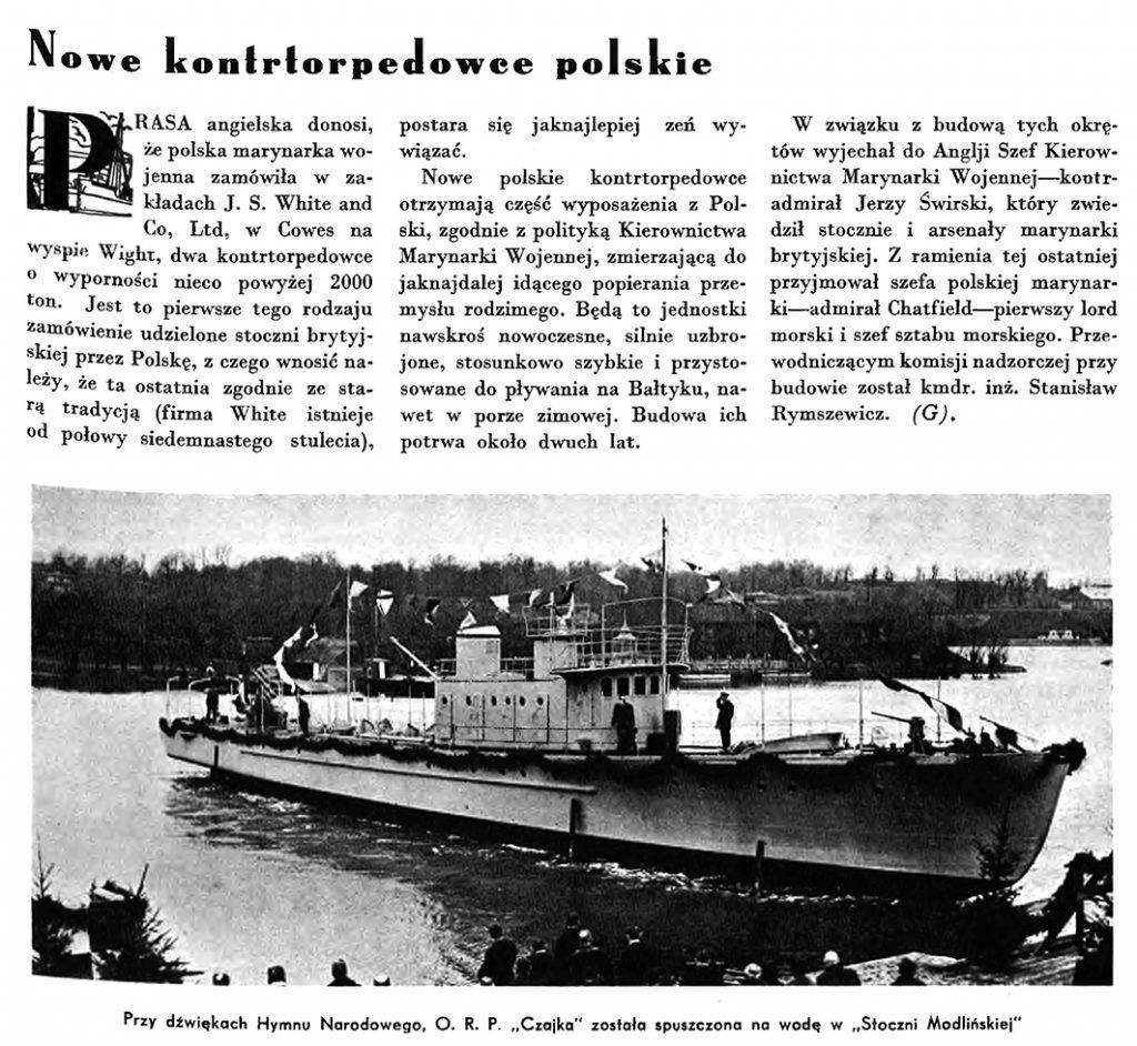 Nowe kontrtorpedowce polskie // Wiadomości Portu Gdyńskiego. - 1935, nr 4, s. 3. - Il.