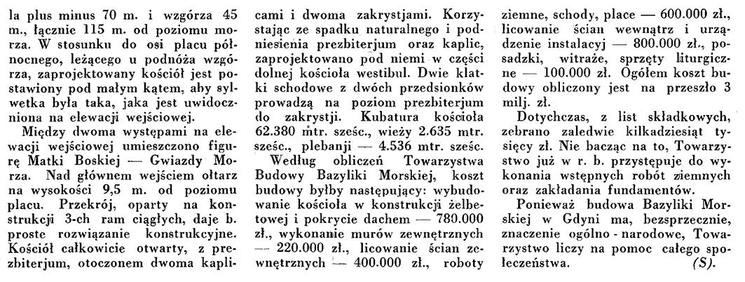 Bazylika Morska w Gdyni // Wiadomości Portu Gdyńskiego. - 1935, nr 1, s. 2