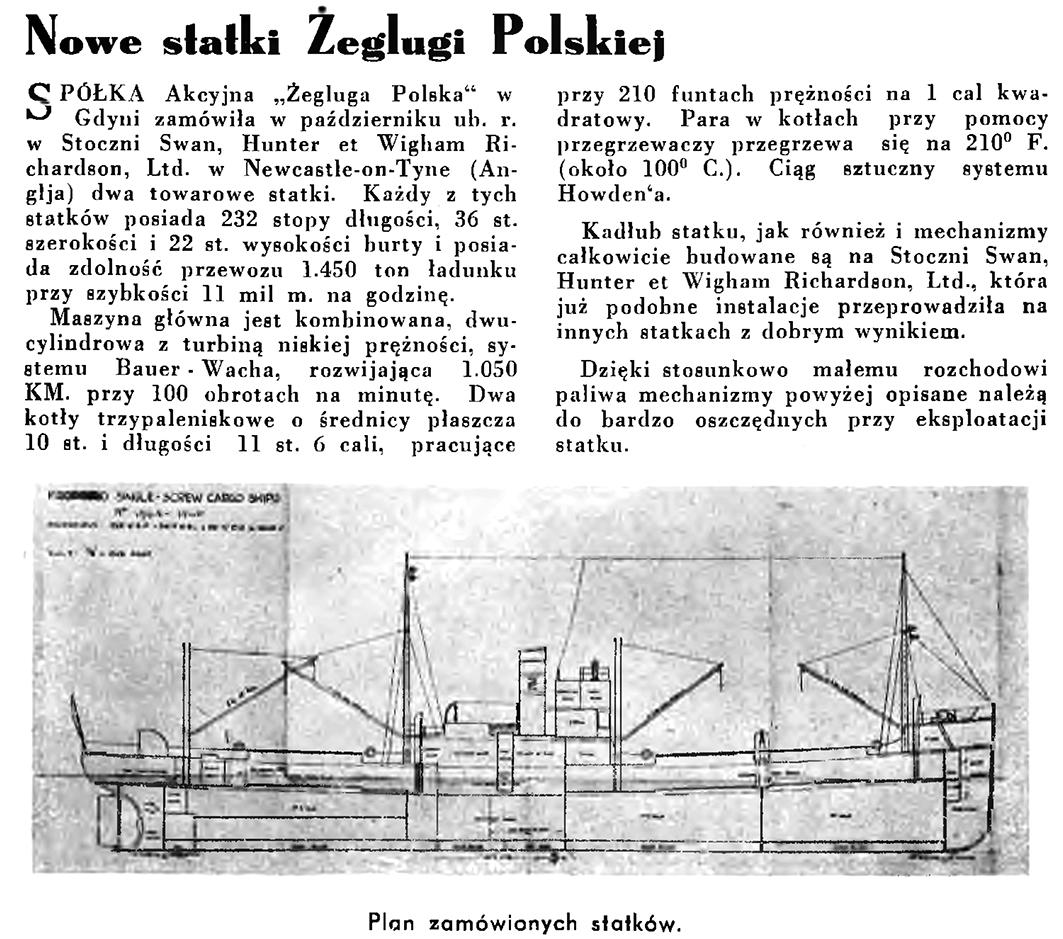 Nowe statki Żeglugi Polskiej // Wiadomości Portu Gdyńskiego. - 1935, nr 1, s. 32