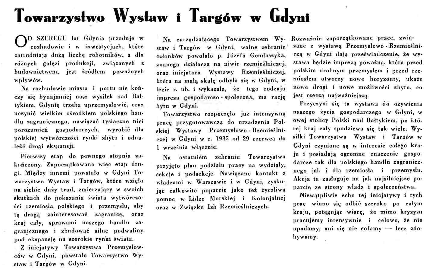 Towarzystwo Wystaw i Targów w Gdyni // Wiadomości Portu Gdyńskiego. - 1935, nr 1, s. 432