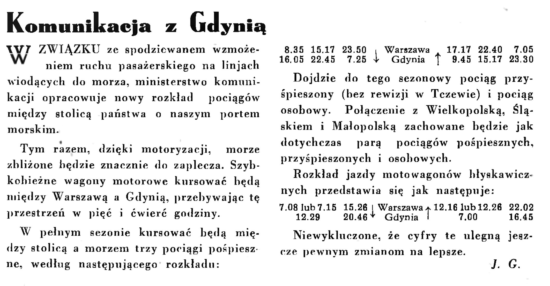 Towarzystwo Komunikacja z Gdynią // Wiadomości Portu Gdyńskiego. - 1935, nr 1, s. 4