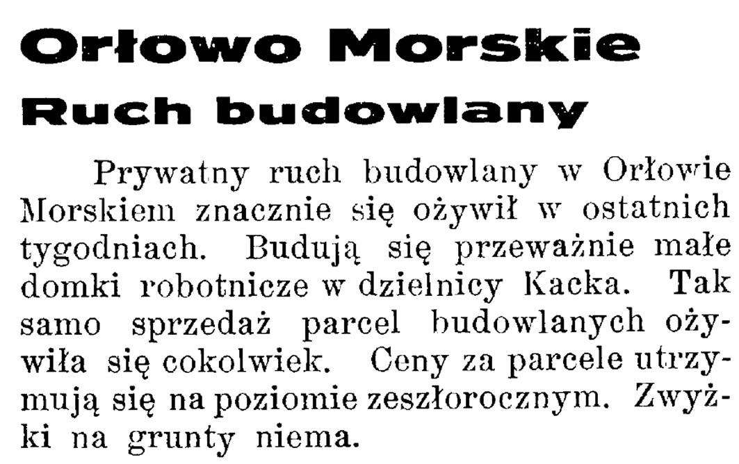 Orłowo Morskie:ruch budowlany // Latarnia Morska. - 1934, nr 17, s. 5