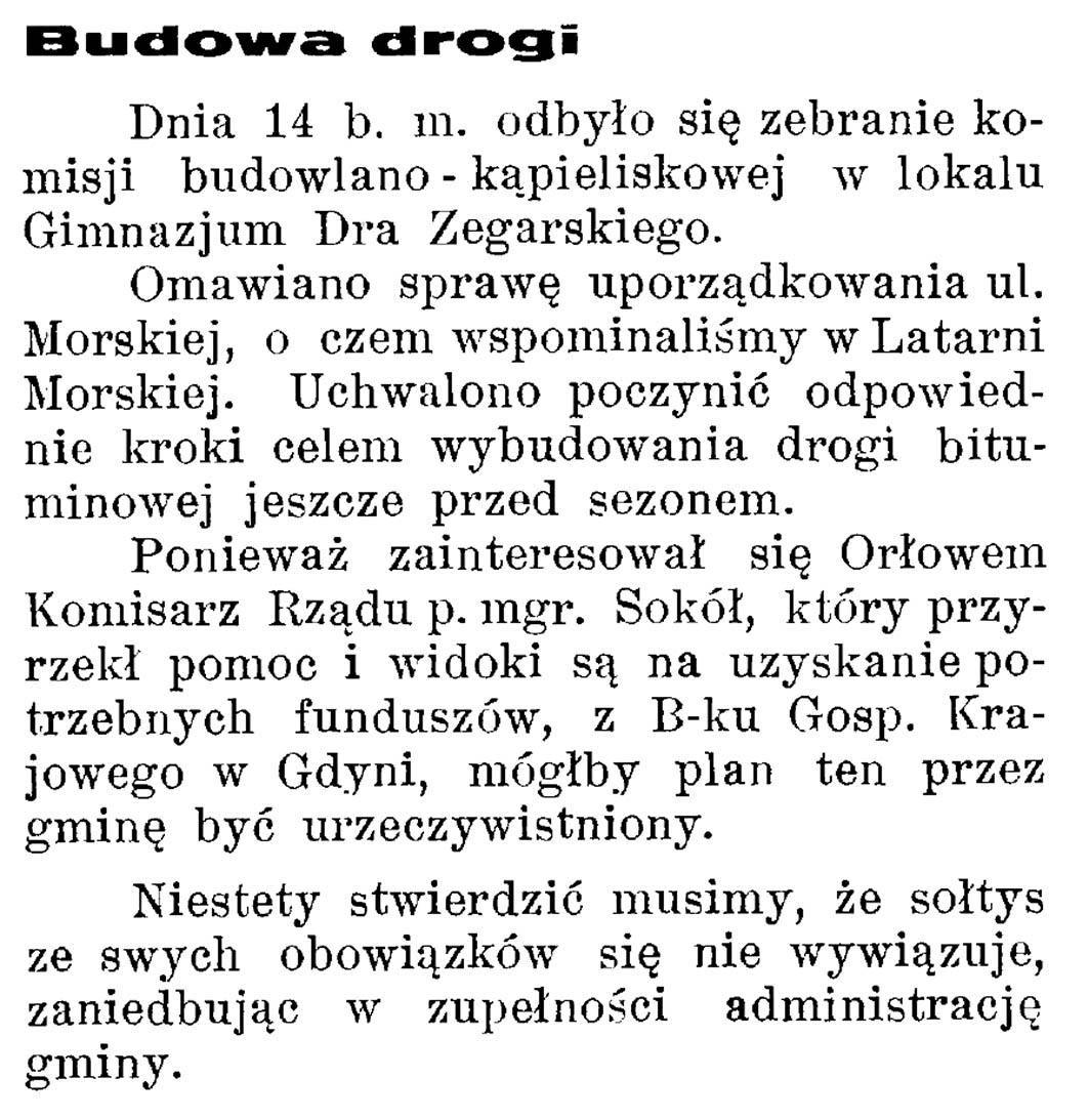 Budowa drogi // Latarnia Morska. - 1934, nr 17, s. 5
