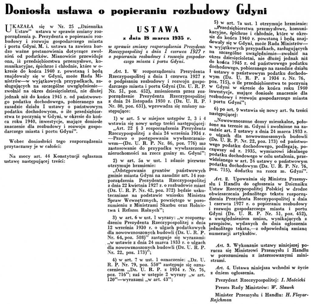 Doniosła ustawa o popieraniu rozbudowy Gdyni // Wiadomości Portu Gdyńskiego. - 1935, nr 4, s. 6-7