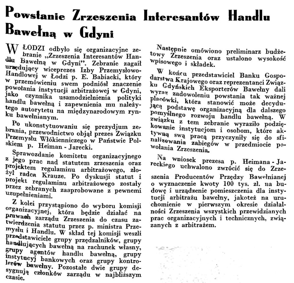 Powstanie Zrzeszenia Interesantów Handlu Bawełną w Gdyni // Wiadomości Portu Gdyńskiego. - 1935, nr 4, s. 7