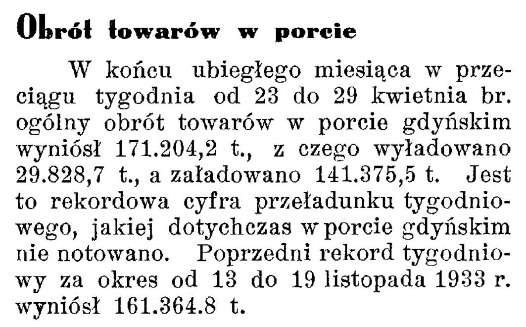 Obrót towarów w porcie // Latarnia Morska. - 1934, nr 17, s. 8