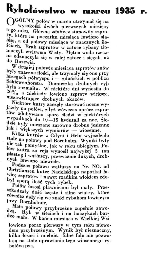 Rybołówstwo w marcu 1935 r. // Wiadomości Portu Gdyńskiego. - 1935, nr 4, s. 9