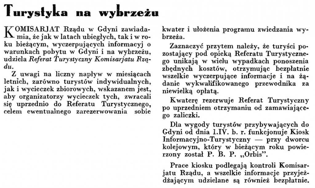 Turystyka na wybrzeżu // Wiadomości Portu Gdyńskiego. - 1935, nr 4, s. 9