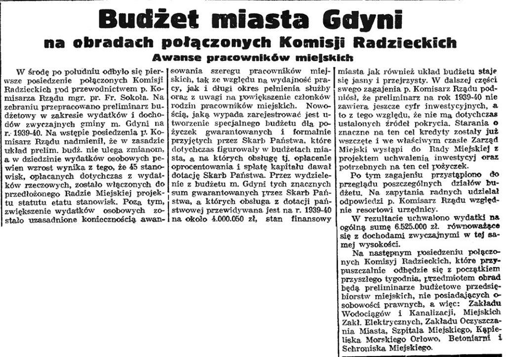 Budżet miasta Gdyni na obradach połączonych Komisji Radzieckich. Awanse pracowników miejskich // Gazeta Gdańska. - 1939, nr 11, s. 7