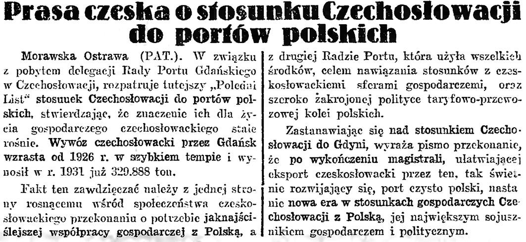 Prasa czeska o stosunku Czechosłowacji do portów polskich / (PAT.) // Gazeta Gdańska. - 1932, nr 124, s. 7