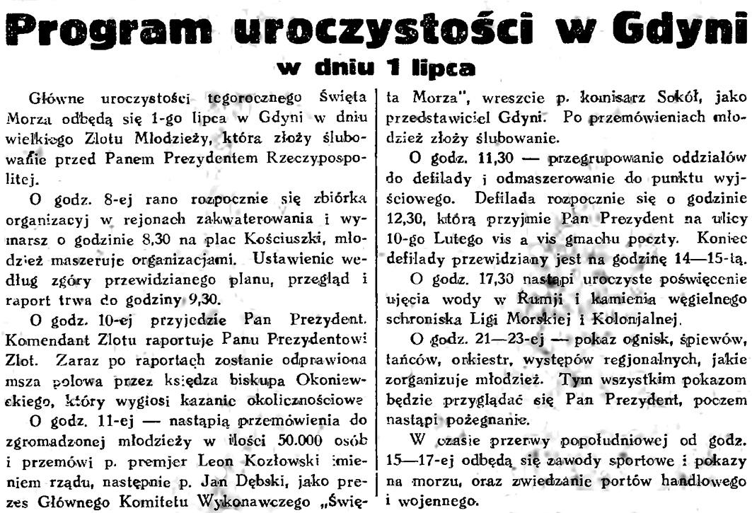 Program uroczystości w Gdyni w dniu 1 lipca // Symboliczny dar Śląska dla Gdyni / (Pat) // Narodowe ślubowanie nad morzem / (s) // Gazeta Gdańska. - 1934, nr 144, s. 2