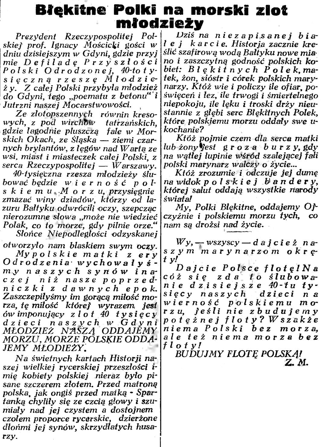 Błękitne Polski na morski zlot młodzieży // Gazeta Gdańska. - 1934, nr 144, s. 2