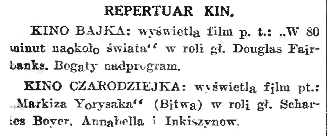 Repertuar kin // Gazeta Gdańska. - 1934, nr 144, s. 6