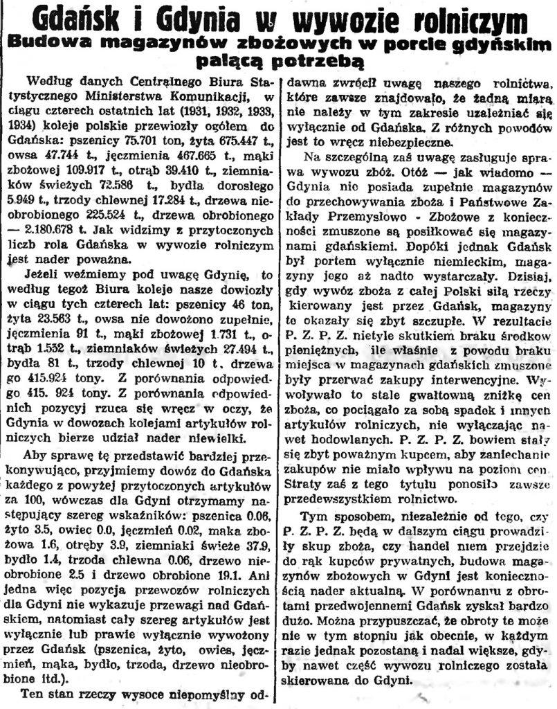 Gdańsk i Gdynia w wywozie rolniczym. Budowa magazynów zbożowych w porcie gdyńskim palącą potrzebą // Gazeta Gdańska. - 1939, nr 105, s. 14