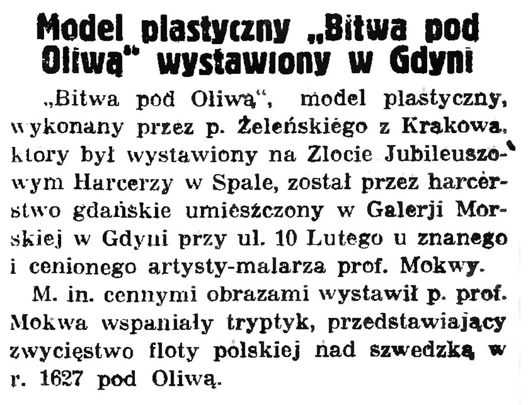 """Model plastyczny """"Bitwa pod Oliwą"""" wystawiony w Gdyni // Powodzenie wystawy przemysłowo-rzemieślniczej  w Gdyni // Gazeta Gdańska. - 1935, nr 172, s. 6"""