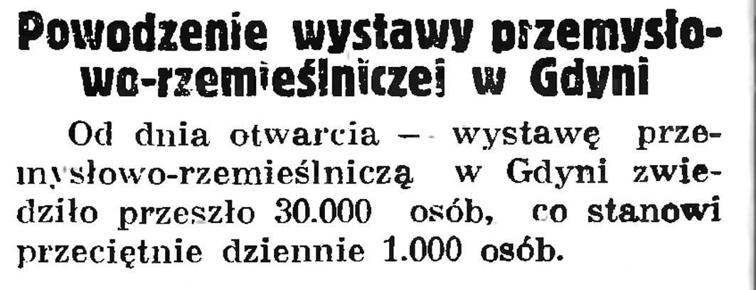 Powodzenie wystawy przemysłowo-rzemieślniczej  w Gdyni // Gazeta Gdańska. - 1935, nr 172, s. 6