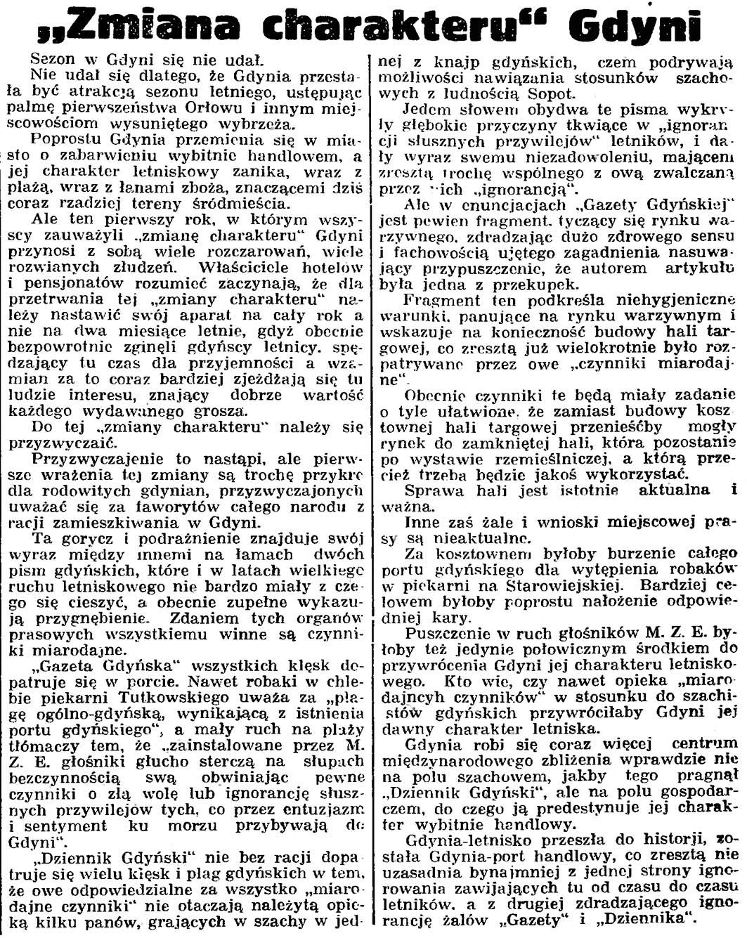 """Zmiana charakteru"" Gdyni // Gazeta Gdańska. - 1935, nr 172, s. 8"