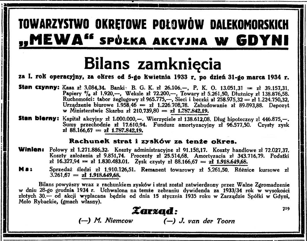 """Towarzystwo Okrętowe Połowów Dalekomorskich """"Mewa"""" spółka akcyjna w Gdyni. Bilans zamknięcia za I. rok operacyjny, za okres od 5-go kwietnia 1933 r. po dzień 31-go marca 1934 r."""