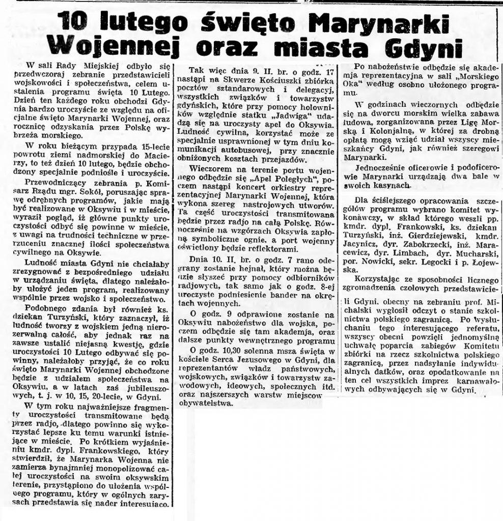 10 lutego święto Marynarki Wojennej oraz miasta Gdyni