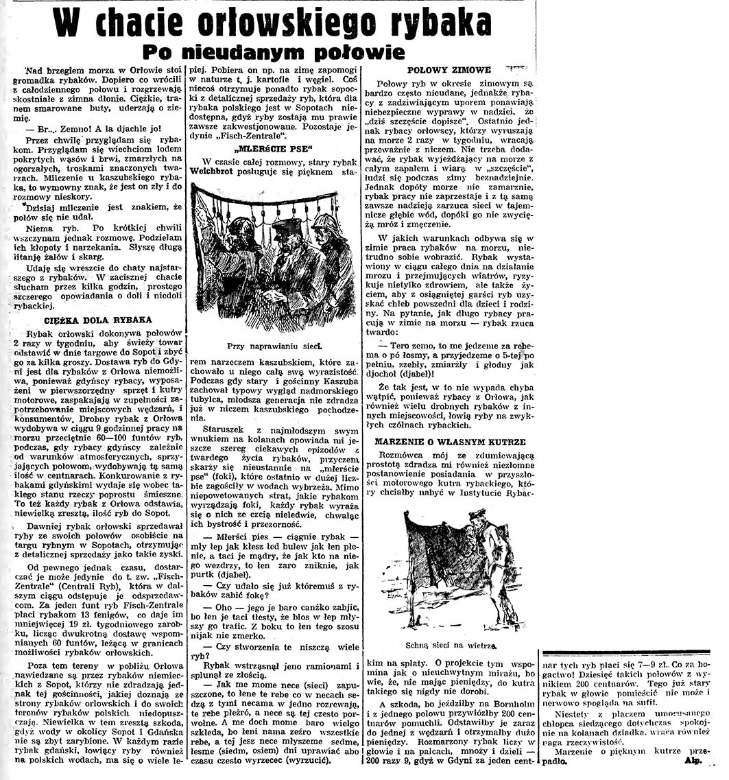 W chacie orłowskiego rybaka. Po nieudanym połowie / Alp. // Gazeta Gdańska. - 1935, nr 23, s. 5