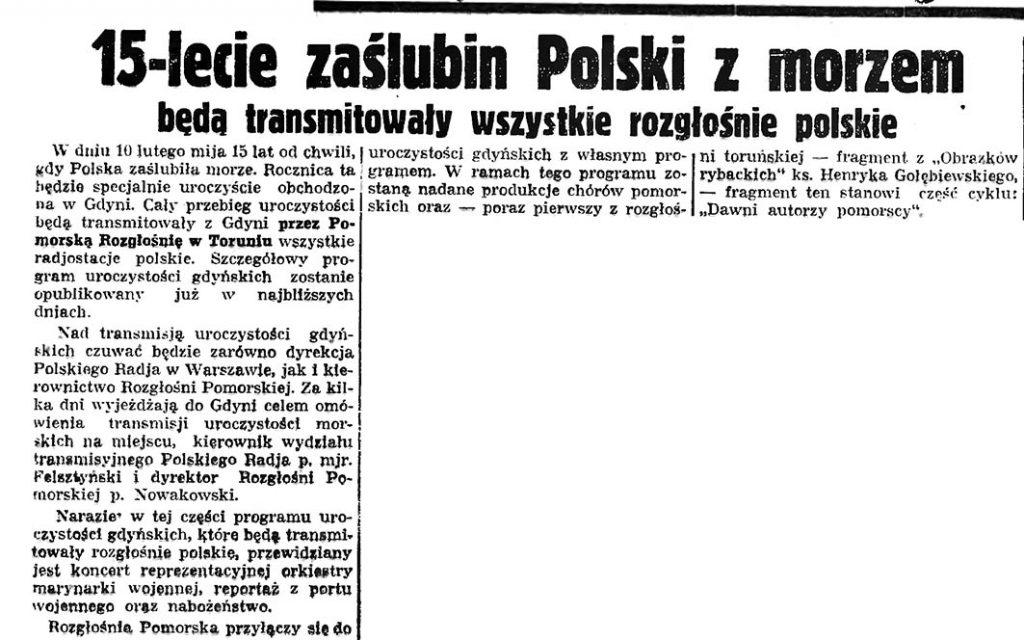 15-lecie zaślubin Polski z morzem będą transmitowały wszystkie rozgłośnie polskie// Gazeta Gdańska. - 1935, nr 23, s. 8