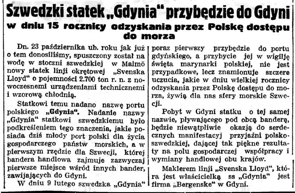 """Szwedzki statek """"Gdynia"""" przybędzie do Gdyni w dniu 15 rocznicy odzyskania przez Polskę dostępu do morza // Gazeta Gdańska. - 1935, nr 24, s. 5"""