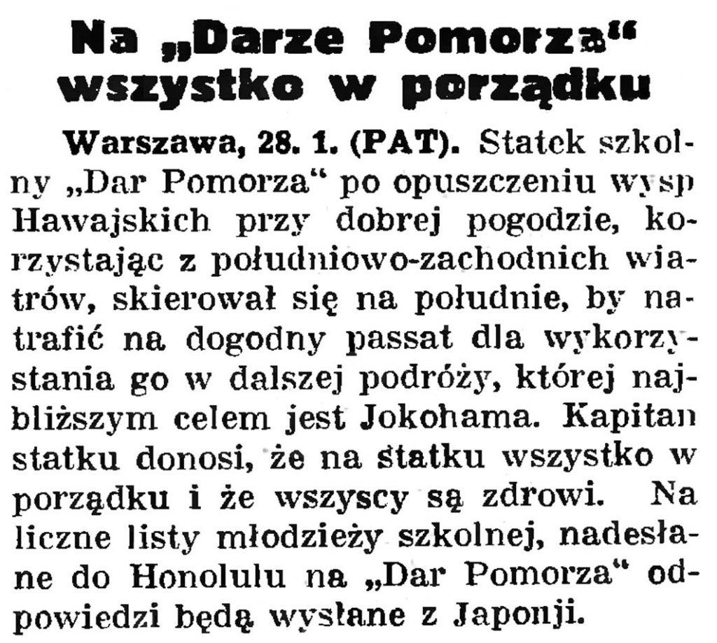 """Na """"Darze Pomorza"""" wszystko w porządku // Gazeta Gdańska. - 1935, nr 25, s. 1"""