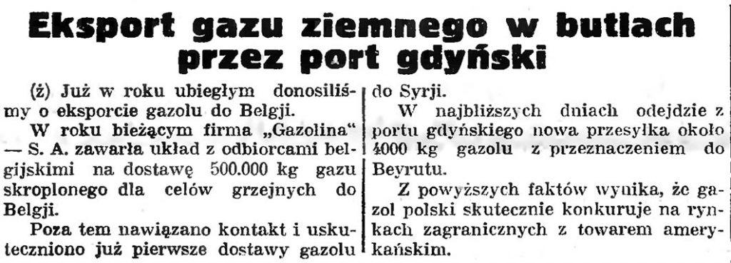 Eksport gazu ziemnego w butlach przez port gdyński // Gazeta Gdańska. - 1935, nr 26, s. 8