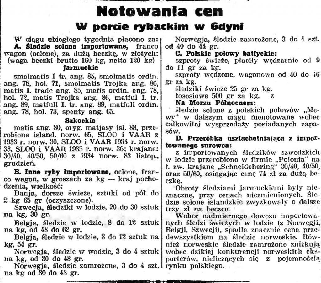 Notowania cen w porcie rybackim w Gdyni // Gazeta Gdańska. - 1935, nr 26, s. 8