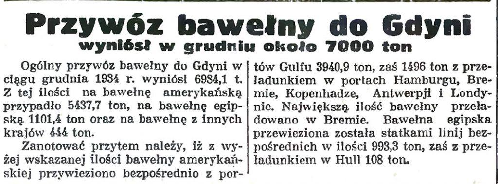 Przywóz bawełny do Gdyni wyniósł w grudniu około 7000 ton// Gazeta Gdańska. - 1935, nr 26, s. 9