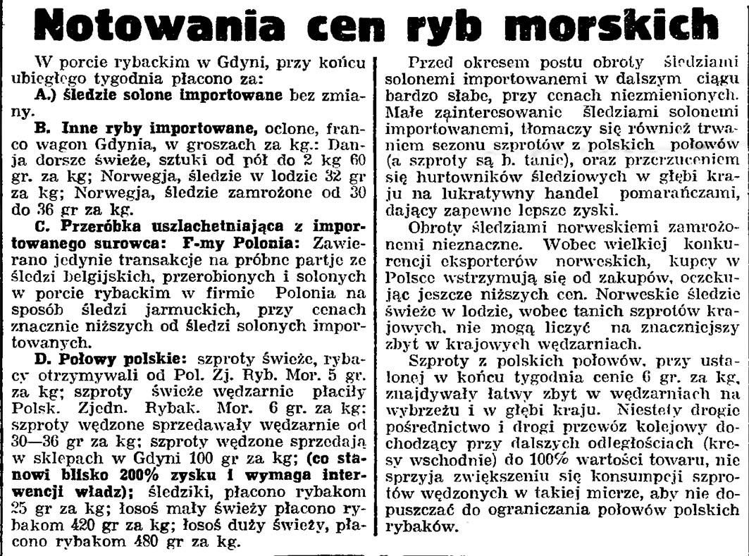 Notowania cen ryb morskich // Gazeta Gdańska. - 1935, nr 30, s. 10