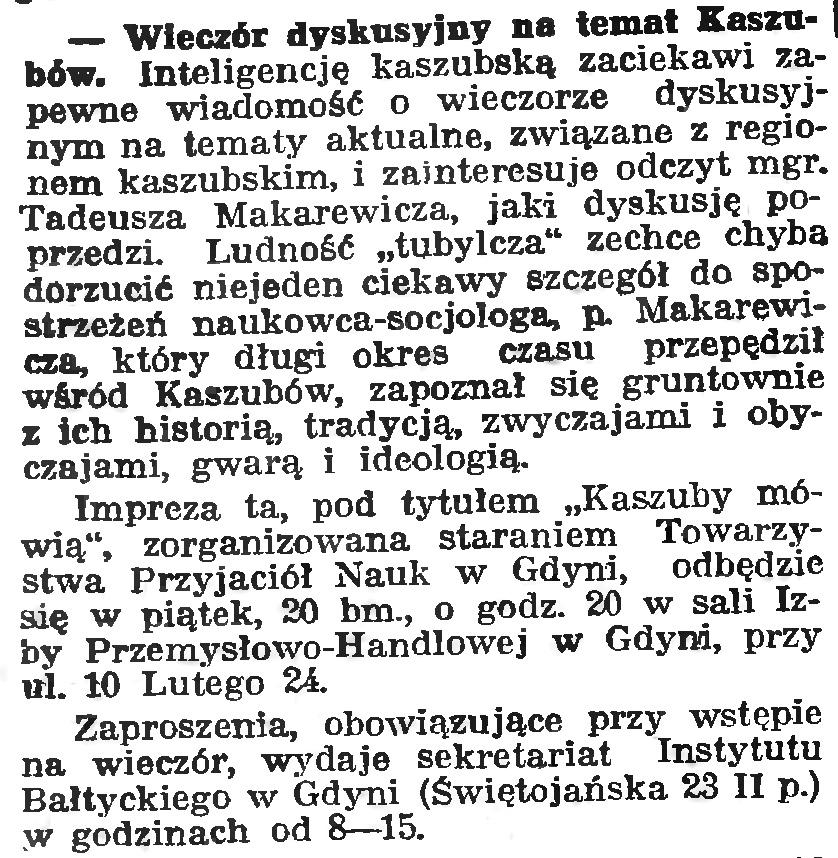 Wieczór dyskusyjny na temat Kaszubów // Gazeta Gdańska. - 1939, nr 11, s. 7