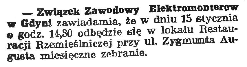 Związek Zawodowy Elektromonterów w Gdyni // Gazeta Gdańska. - 1939, nr 11, s. 7