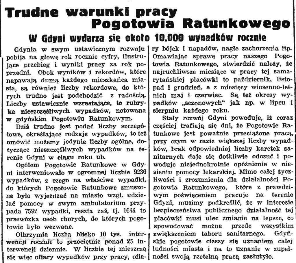 Trudne warunki pracy Pogotowia Ratunkowego. W Gdyni wydarza się około 10.000 wypadków rocznie // Gazeta Gdańska. - 1939, nr 11, s. 7