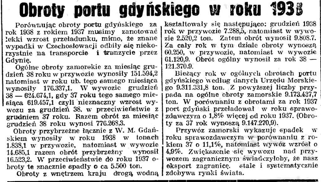 Obroty portu gdyńskiego w roku 1938 // Gazeta Gdańska. - 1939, nr 12, s. 12