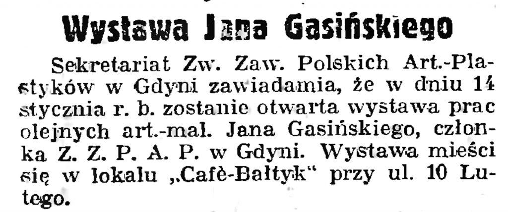 Wystawa Jana Gasińskiego // Gazeta Gdańska. - 1939, nr 12, s. 12