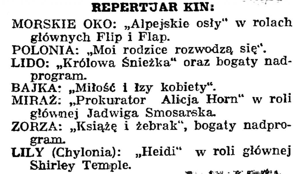 Repertuar kin // Gazeta Gdańska. - 1939, nr 13, s. 6