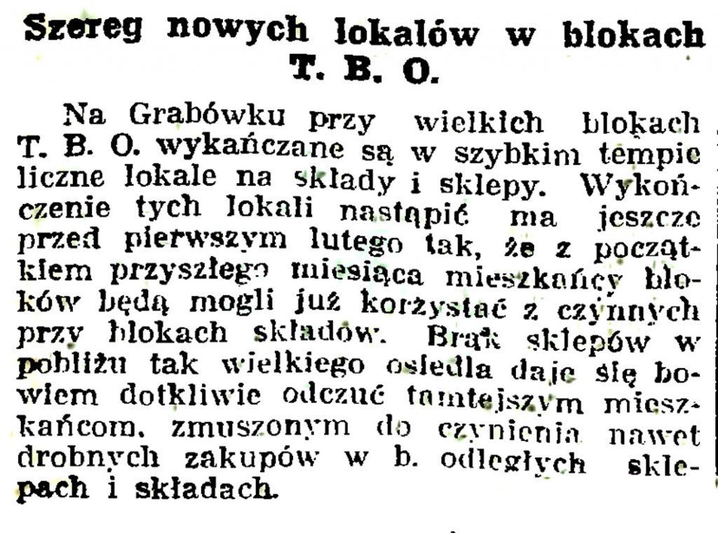 Szereg nowych lokalów w blokach T.B.O. // Gazeta Gdyńska. - 1937, nr 14, s. 7