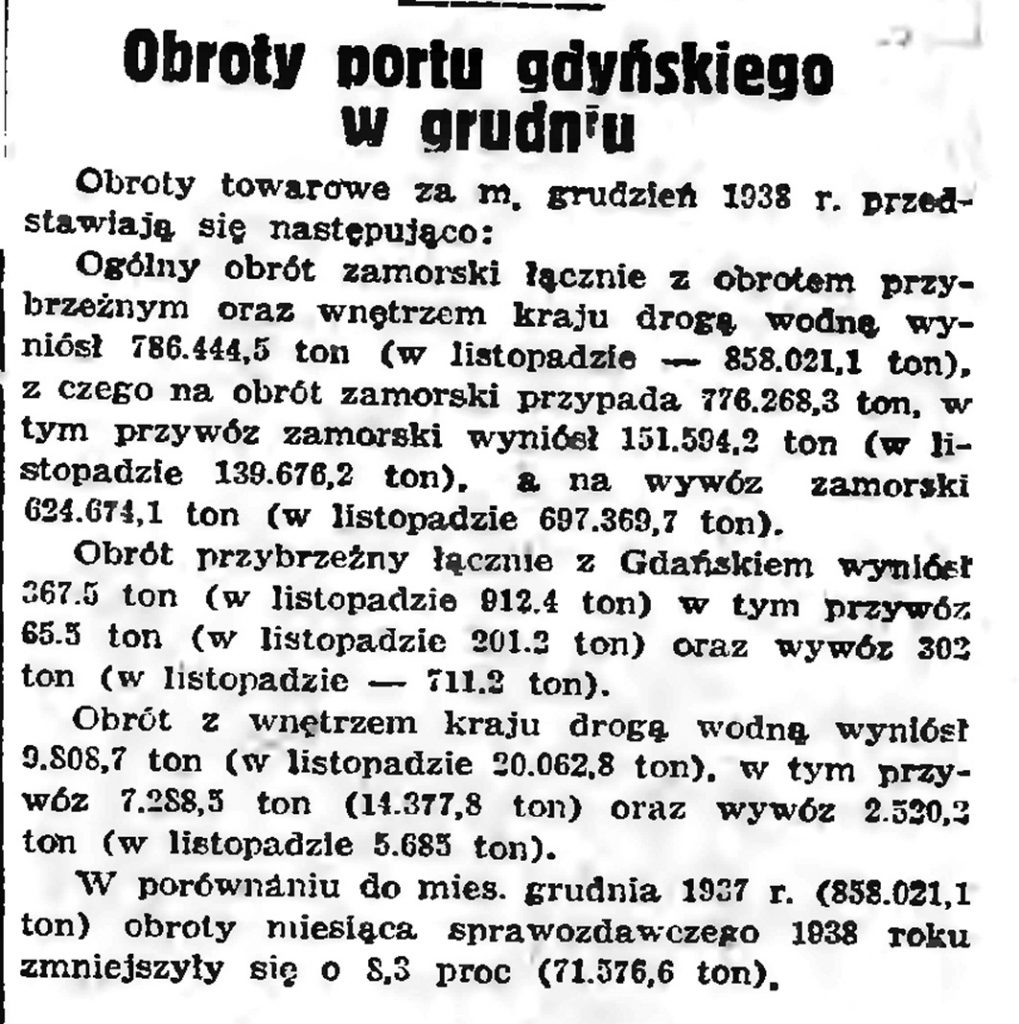 Obrotu portu gdyńskiego w grudniu // Gazeta Gdańska. - 1939, nr 9, s. 17
